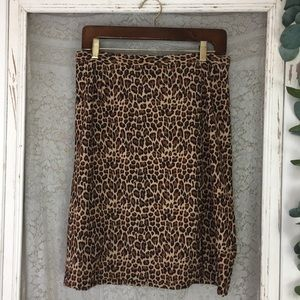 Vintage Leopard Print Pencil Skirt 12P